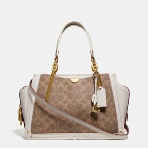 New Coach Dreamer Purse Signature Canvas Tan Chalk